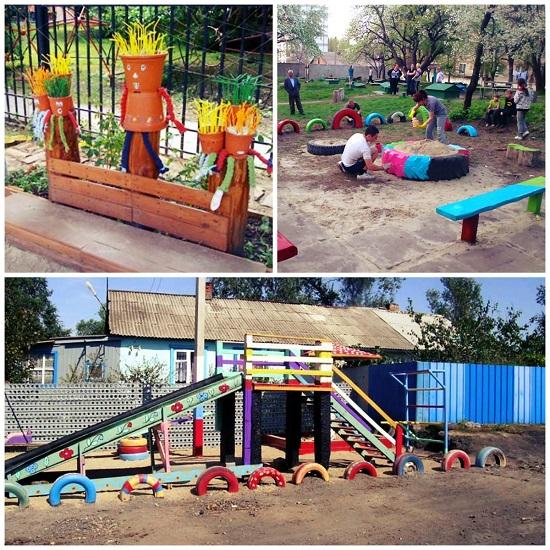 Детская площадка в саду своими руками из подручных материалов фото 83